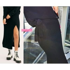 FP Eyes On You Sweater Skirt Wrap Slit Maxi Midi